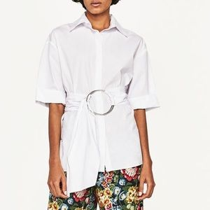 Short Sleeve Button-Up with Ring Belt